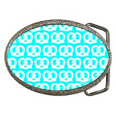 Aqua Pretzel Illustrations Pattern Belt Buckles by creativemom