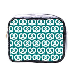 Teal Pretzel Illustrations Pattern Mini Toiletries Bags by creativemom