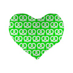 Neon Green Pretzel Illustrations Pattern Standard 16  Premium Flano Heart Shape Cushions by creativemom