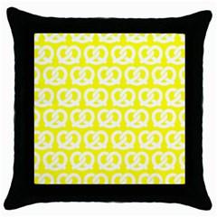 Yellow Pretzel Illustrations Pattern Throw Pillow Cases (black) by creativemom