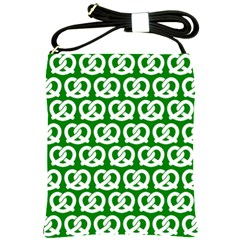 Green Pretzel Illustrations Pattern Shoulder Sling Bags by creativemom