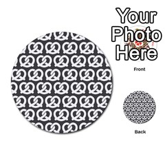Gray Pretzel Illustrations Pattern Multi Purpose Cards (round)  by creativemom
