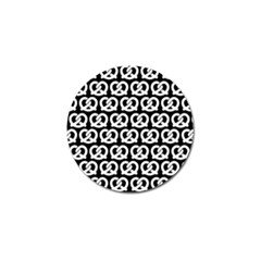 Black And White Pretzel Illustrations Pattern Golf Ball Marker by creativemom