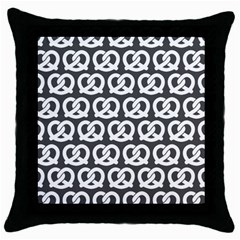 Gray Pretzel Illustrations Pattern Throw Pillow Cases (black) by creativemom