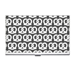 Gray Pretzel Illustrations Pattern Business Card Holders by creativemom