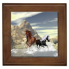 Beautiful Horses Running In A River Framed Tiles by FantasyWorld7