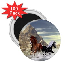 Beautiful Horses Running In A River 2 25  Magnets (100 Pack)  by FantasyWorld7