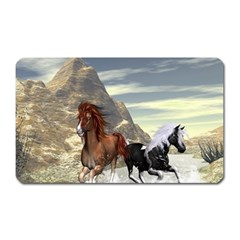 Beautiful Horses Running In A River Magnet (rectangular) by FantasyWorld7