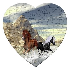 Beautiful Horses Running In A River Jigsaw Puzzle (heart) by FantasyWorld7