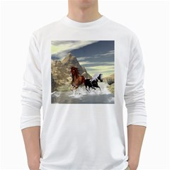 Beautiful Horses Running In A River White Long Sleeve T-shirts by FantasyWorld7