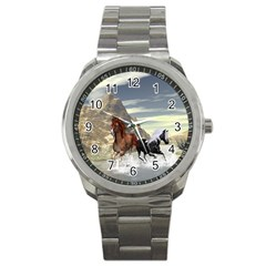 Beautiful Horses Running In A River Sport Metal Watches by FantasyWorld7