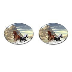 Beautiful Horses Running In A River Cufflinks (oval)