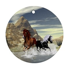 Beautiful Horses Running In A River Round Ornament (two Sides)  by FantasyWorld7