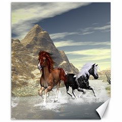 Beautiful Horses Running In A River Canvas 20  X 24
