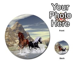 Beautiful Horses Running In A River Multi Purpose Cards (round)  by FantasyWorld7