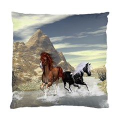 Beautiful Horses Running In A River Standard Cushion Cases (two Sides)  by FantasyWorld7