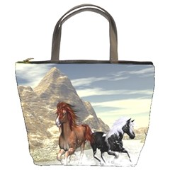 Beautiful Horses Running In A River Bucket Bags by FantasyWorld7