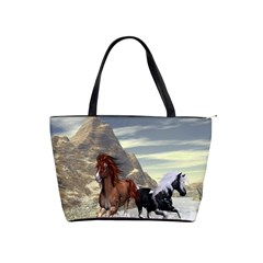 Beautiful Horses Running In A River Shoulder Handbags by FantasyWorld7