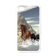 Beautiful Horses Running In A River Apple Iphone 4 Case (white) by FantasyWorld7