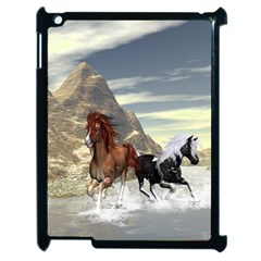 Beautiful Horses Running In A River Apple Ipad 2 Case (black) by FantasyWorld7