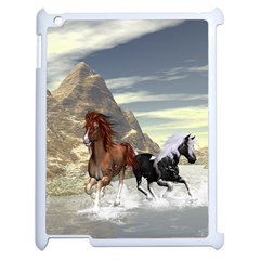 Beautiful Horses Running In A River Apple Ipad 2 Case (white) by FantasyWorld7