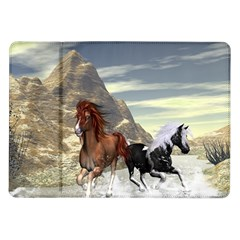 Beautiful Horses Running In A River Samsung Galaxy Tab 10 1  P7500 Flip Case by FantasyWorld7