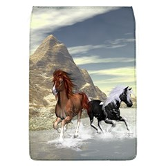 Beautiful Horses Running In A River Flap Covers (l)  by FantasyWorld7