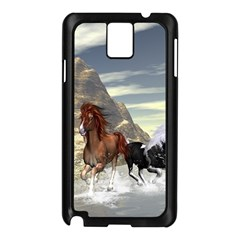 Beautiful Horses Running In A River Samsung Galaxy Note 3 N9005 Case (black) by FantasyWorld7