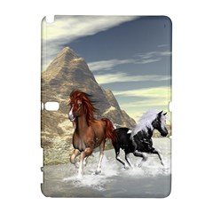 Beautiful Horses Running In A River Samsung Galaxy Note 10 1 (p600) Hardshell Case by FantasyWorld7