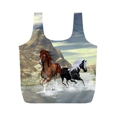 Beautiful Horses Running In A River Full Print Recycle Bags (m)  by FantasyWorld7