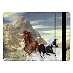Beautiful Horses Running In A River Samsung Galaxy Tab Pro 12 2  Flip Case by FantasyWorld7