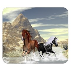 Beautiful Horses Running In A River Double Sided Flano Blanket (small)  by FantasyWorld7