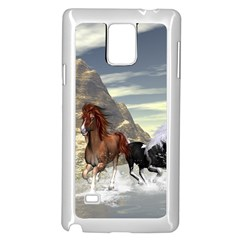Beautiful Horses Running In A River Samsung Galaxy Note 4 Case (white) by FantasyWorld7