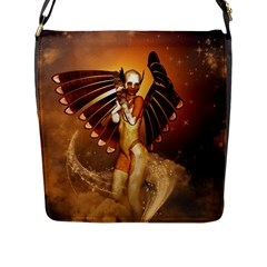 Beautiful Angel In The Sky Flap Messenger Bag (l)  by FantasyWorld7