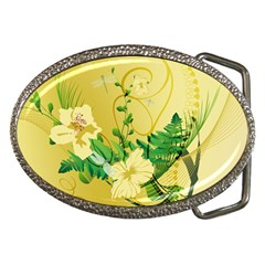 Wonderful Soft Yellow Flowers With Leaves Belt Buckles by FantasyWorld7
