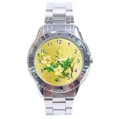 Wonderful Soft Yellow Flowers With Leaves Stainless Steel Men s Watch by FantasyWorld7