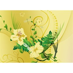 Wonderful Soft Yellow Flowers With Leaves Birthday Cake 3d Greeting Card (7x5)