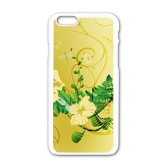 Wonderful Soft Yellow Flowers With Leaves Apple Iphone 6/6s White Enamel Case by FantasyWorld7