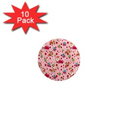 Red Christmas Pattern 1  Mini Magnet (10 Pack)  by KirstenStar