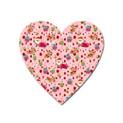 Red Christmas Pattern Heart Magnet by KirstenStar