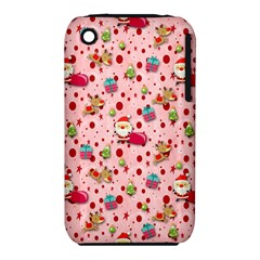 Red Christmas Pattern Apple Iphone 3g/3gs Hardshell Case (pc+silicone) by KirstenStar