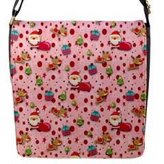Red Christmas Pattern Flap Messenger Bag (s) by KirstenStar
