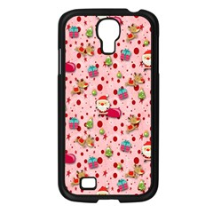 Red Christmas Pattern Samsung Galaxy S4 I9500/ I9505 Case (black) by KirstenStar