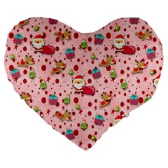 Red Christmas Pattern Large 19  Premium Flano Heart Shape Cushions by KirstenStar