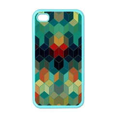 Colorful Modern Geometric Cubes Pattern Apple Iphone 4 Case (color) by Dushan