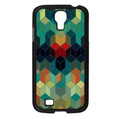 Colorful Modern Geometric Cubes Pattern Samsung Galaxy S4 I9500/ I9505 Case (black) by Dushan
