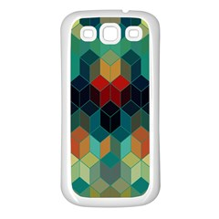 Colorful Modern Geometric Cubes Pattern Samsung Galaxy S3 Back Case (white) by Dushan