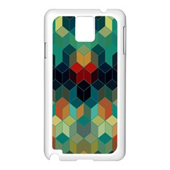 Colorful Modern Geometric Cubes Pattern Samsung Galaxy Note 3 N9005 Case (white) by Dushan