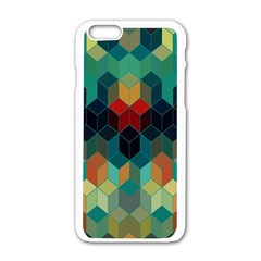 Colorful Modern Geometric Cubes Pattern Apple Iphone 6/6s White Enamel Case by Dushan