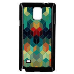 Colorful Modern Geometric Cubes Pattern Samsung Galaxy Note 4 Case (black) by Dushan
